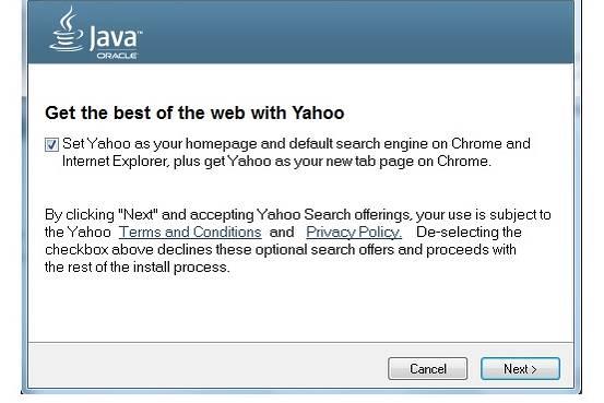 Oracle har beslutat att ersätta Ask med Yahoo! i Javauppdateringar ögonblicksbild