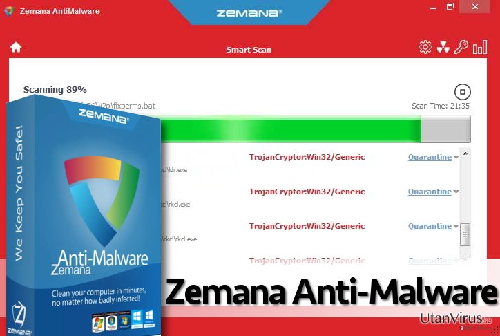 Screenshot of Zemana scan