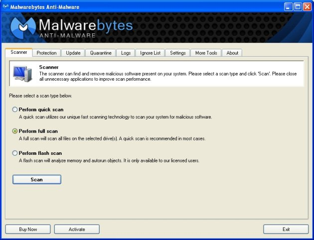 Malwarebytes Anti Malware ögonblicksbild