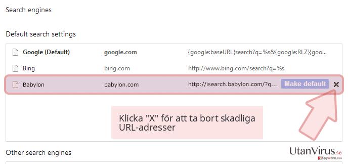 Klicka 'X' för att ta bort skadliga URL-adresser