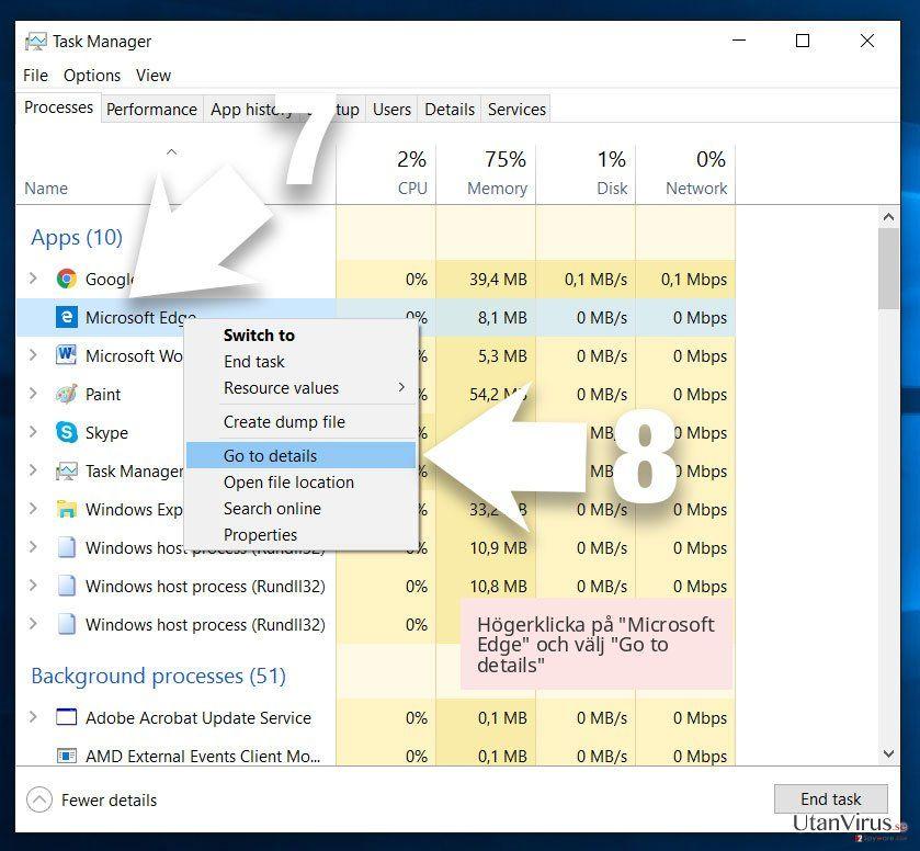 Högerklicka på 'Microsoft Edge' och välj 'Go to details'