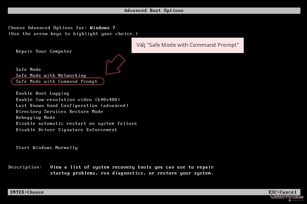 Välj 'Safe Mode with Command Prompt'