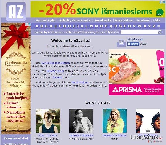 Annonser från AZLyrics ögonblicksbild