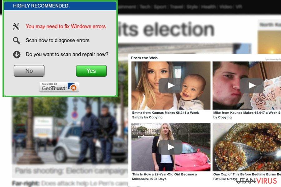 Exempel på AdsKeeper-annonser