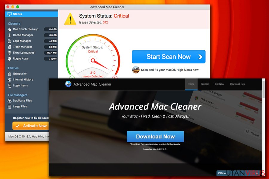 Advanced Mac Cleaner-viruset ögonblicksbild