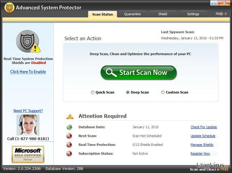 Advanced System Protector ögonblicksbild