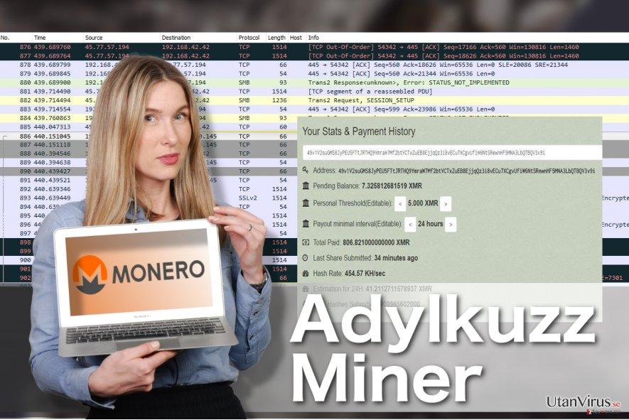 Bildexempel på mineringsviruset Adylkuzz