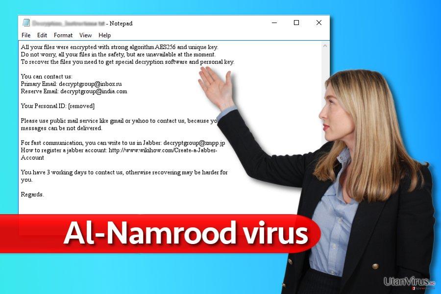 Exempel på meddelande från Al-Namroods ransomware