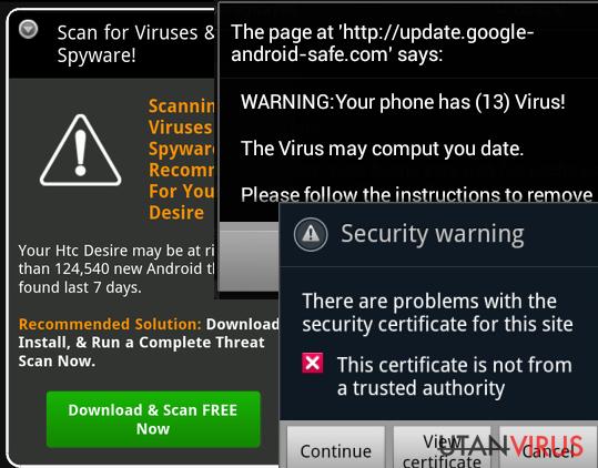 Bildexempel på Android-virus