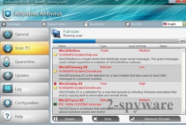 Attentive Antivirus ögonblicksbild