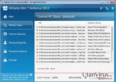 AVbytes Win 7 Antivirus 2015 ögonblicksbild