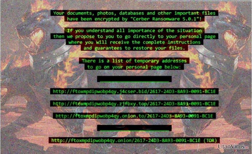 Cerber 5 ransomware ögonblicksbild