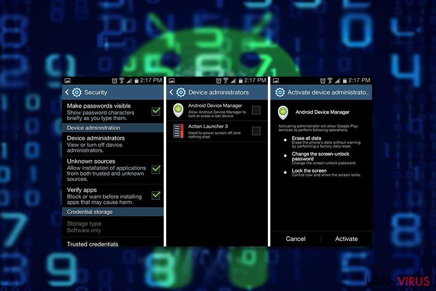 Exempel på Andoid-infektionen com.google.provision-viruset