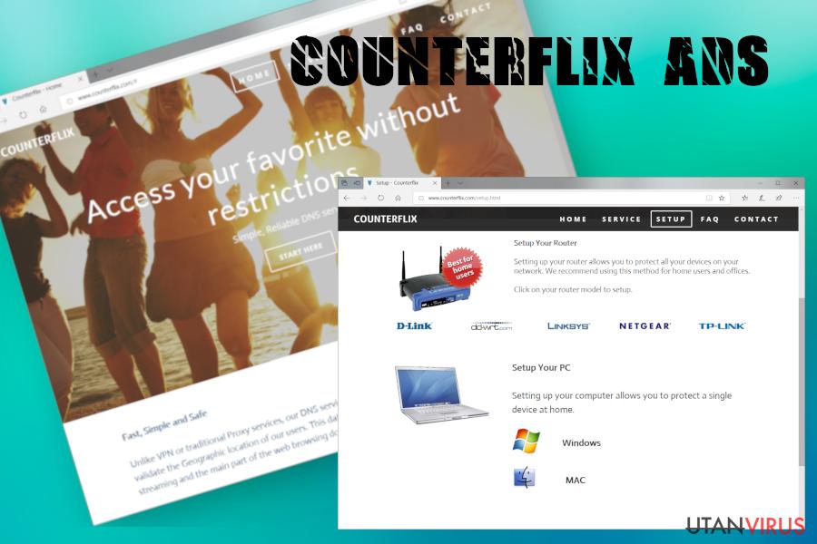 Counterflix-annonser ögonblicksbild