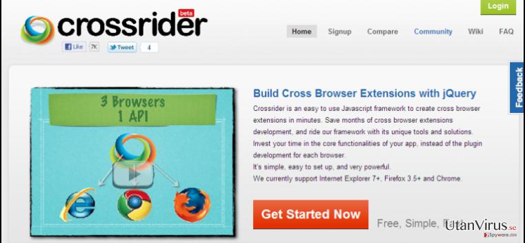 Search.crossrider.com redirect ögonblicksbild
