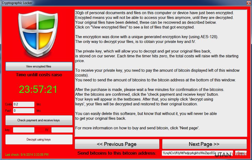 Cryptographic Locker virus