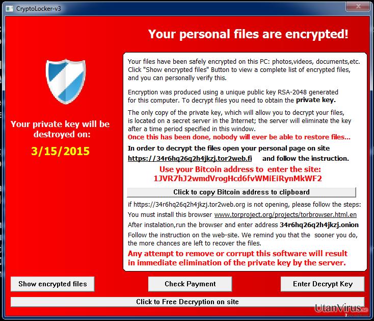 Viruset Cryptolocker-v3 ögonblicksbild