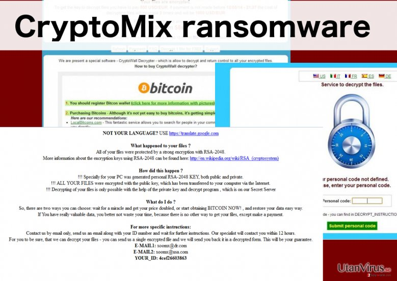 An illustration of the CryptoMix ransomware virus