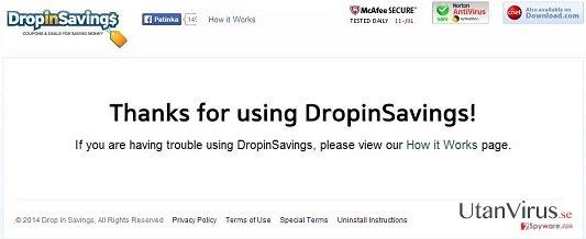DropinSavings virus ögonblicksbild