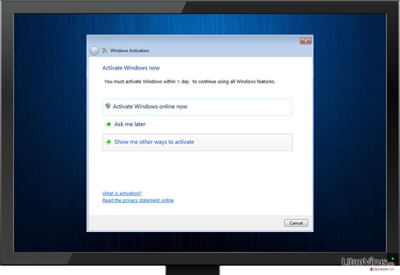 Fake Windows Activation virus screenshot