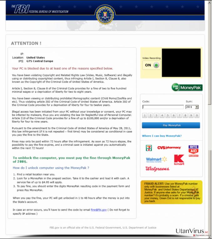 FBI Moneypak ögonblicksbild