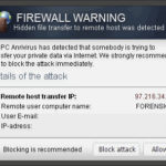 """""""Firewall Warning"""" Popup ögonblicksbild"""