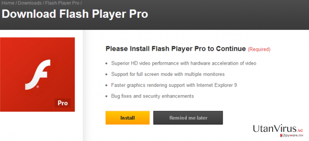 Flash Player Pro virus ögonblicksbild