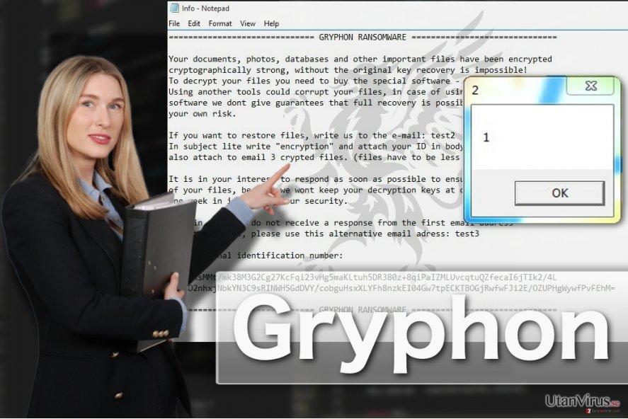 Bildexempel på Gryphon ransomware