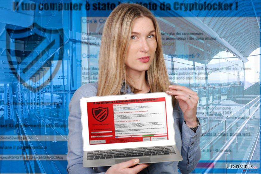 """Bildexempel på ransomware-viruset """"Il tuo computer e stato infettato da Cryptolocker!"""""""