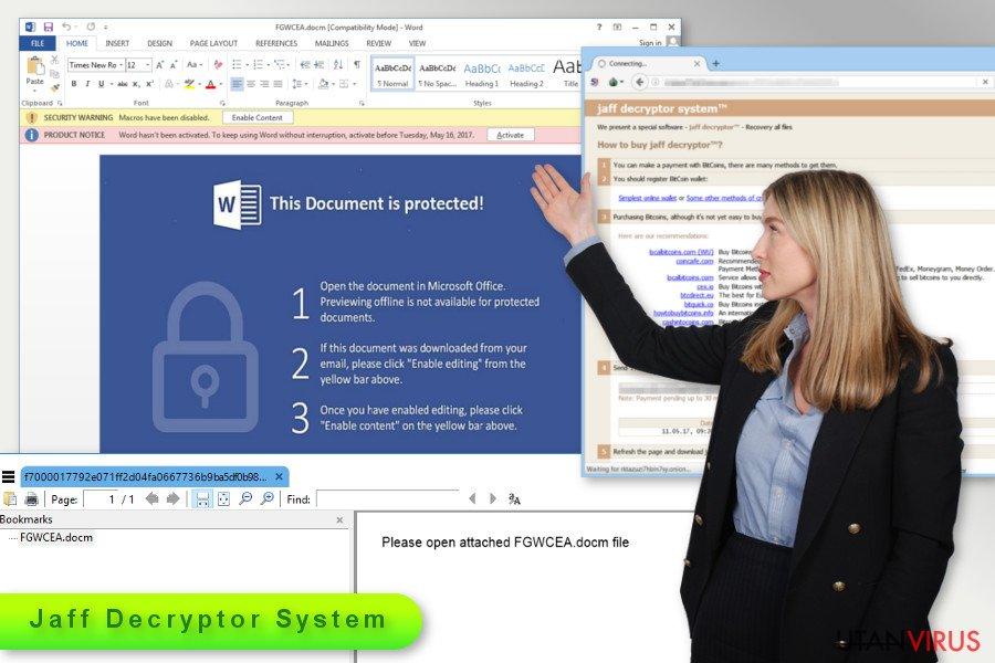 Bildexempel på Jaff ransomware