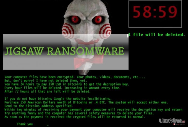 An illustration of Jigsaw ransomware virus