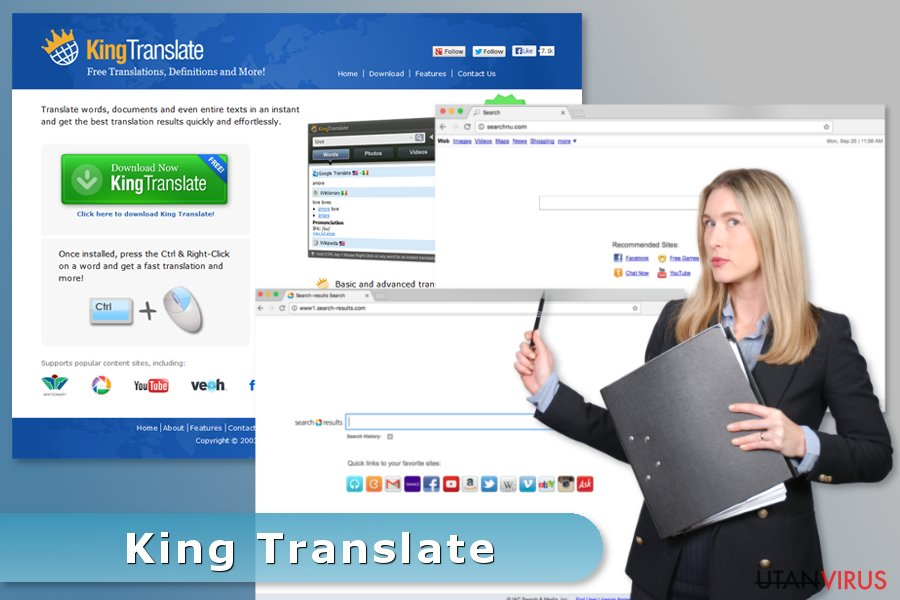 Bildexempel på King Translate-viruset