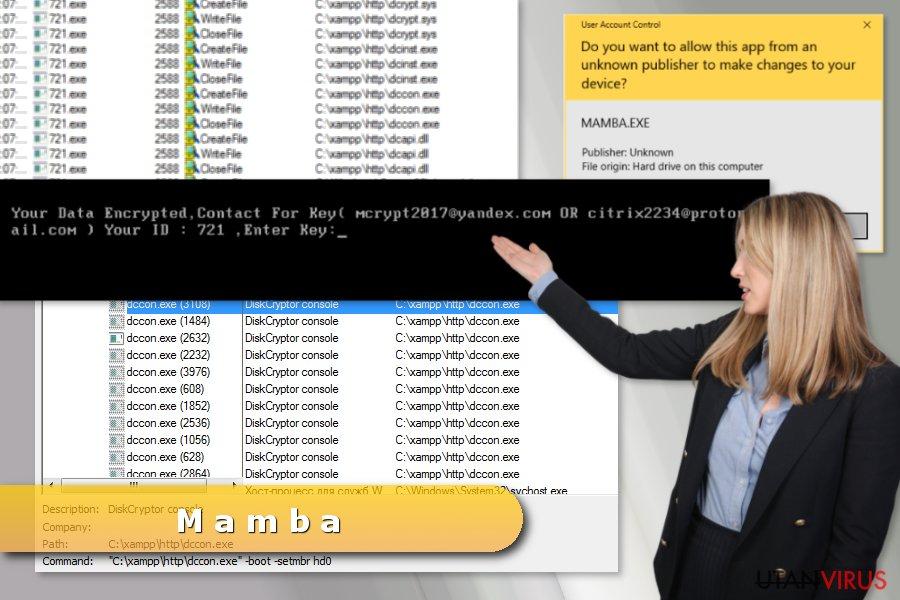 Bildexempel på Mamba-attack