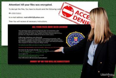 Bildexempel på Matrix ransomware