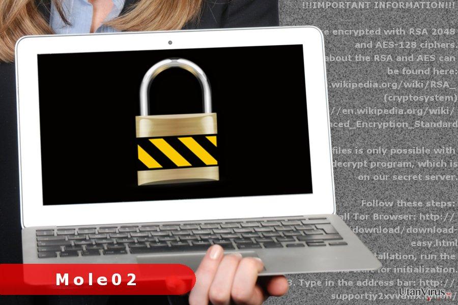 Bildexempel på Mole02 ransomware