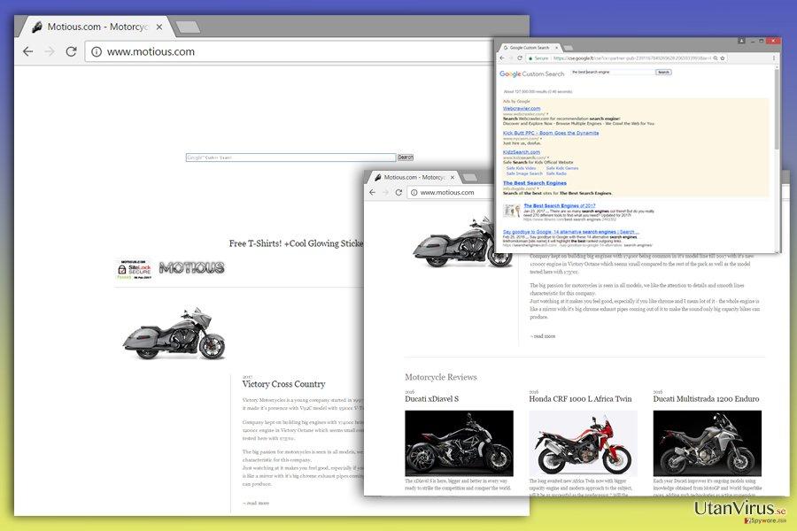 Bildexempel på Motious.com-viruset