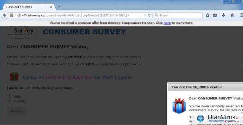 Popup-viruset Official-survey.co ögonblicksbild