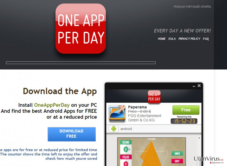 OneAppPerDay annonser ögonblicksbild