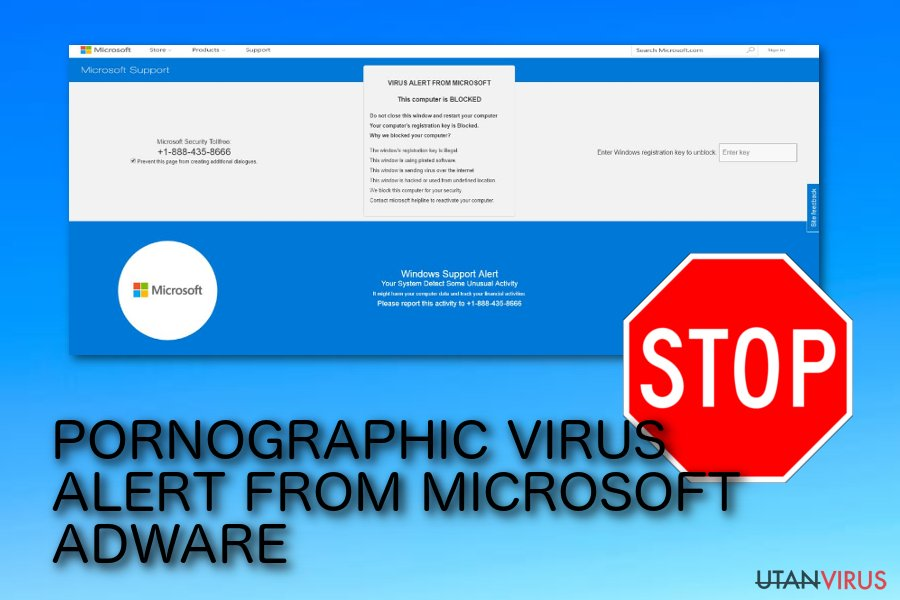 PORNOGRAPHIC VIRUS ALERT FROM MICROSOFT pop-up bluff
