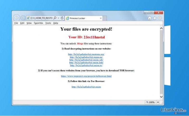 Princess Locker ransomware ögonblicksbild