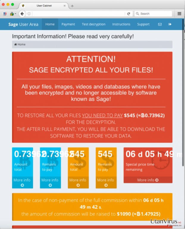 Sage-virusets betalsida