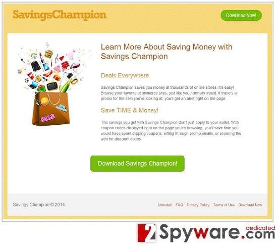 Annonser från Savings Champion ögonblicksbild