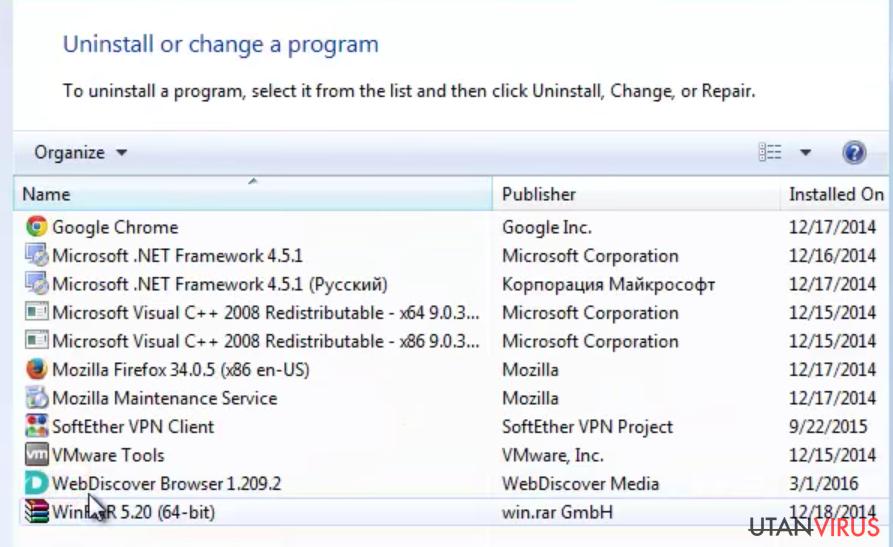 Bildexempel på programmet WebDiscover Browser