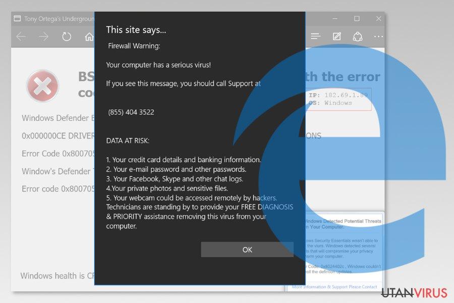 Skärmdump av Microsoft Edge-viruset