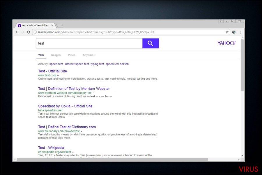 Omdirigeringar från search.yahoo.com ögonblicksbild