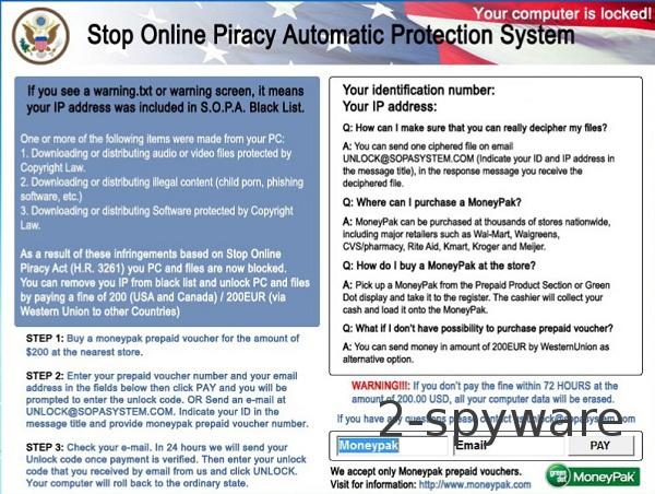 SOPA virus ögonblicksbild