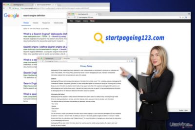 Bildexempel på StartPageing123-viruset