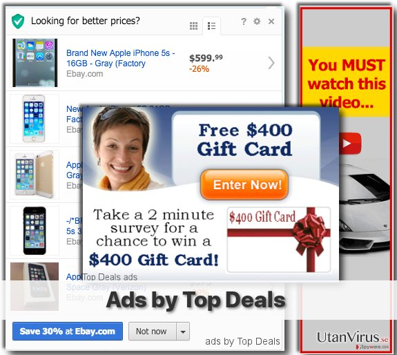 Top Deal adware shows various pop-up ads