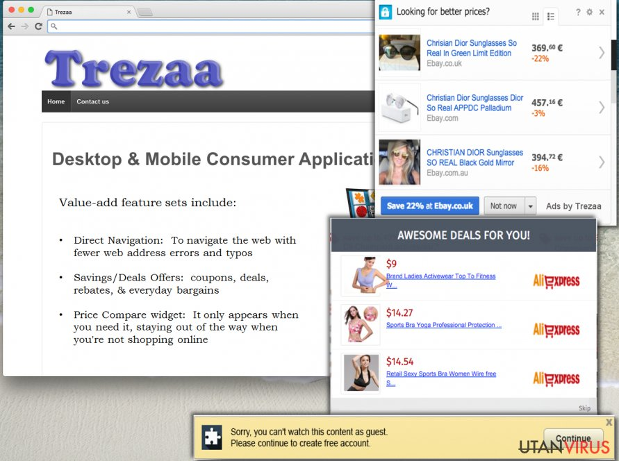 Trezaa ads can be deceptive