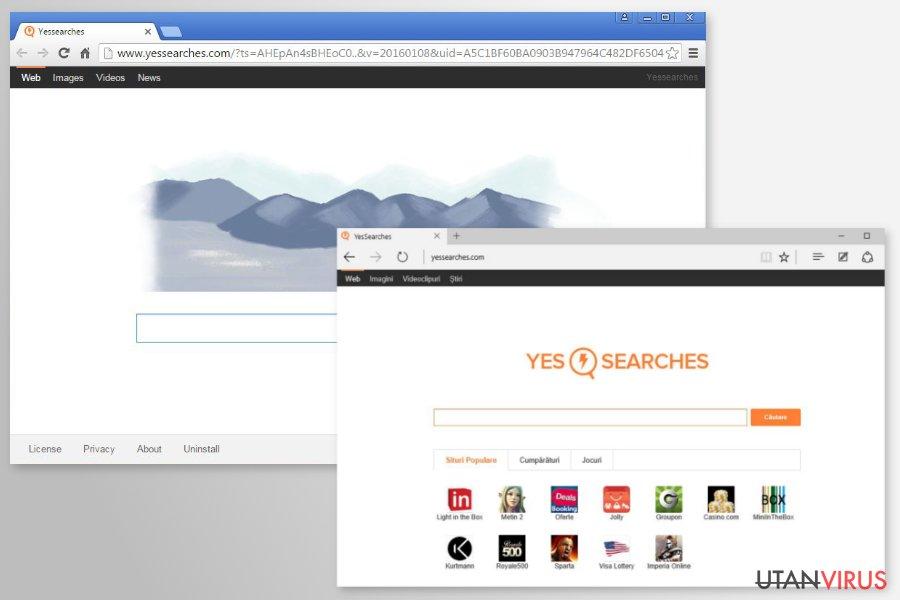 Omdirigeringar från YesSearches.com ögonblicksbild